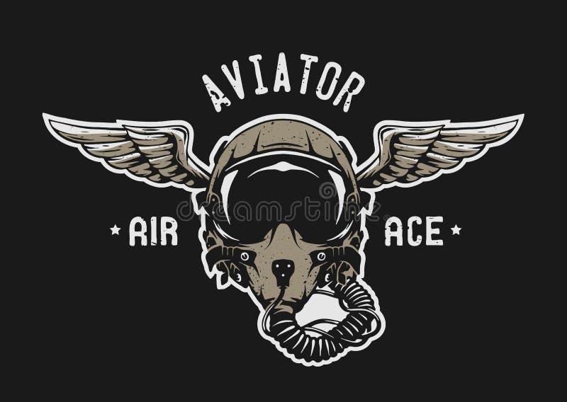 Pilote d'avion de chasse Helmet illustration de vecteur