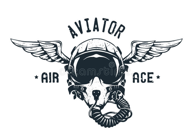 Pilote d'avion de chasse Helmet Emblem illustration libre de droits