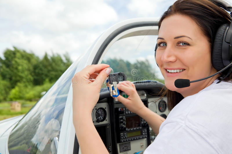 Pilote de femme photographie stock