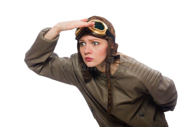 Pilote drôle de femme d'isolement sur le blanc photographie stock libre de droits