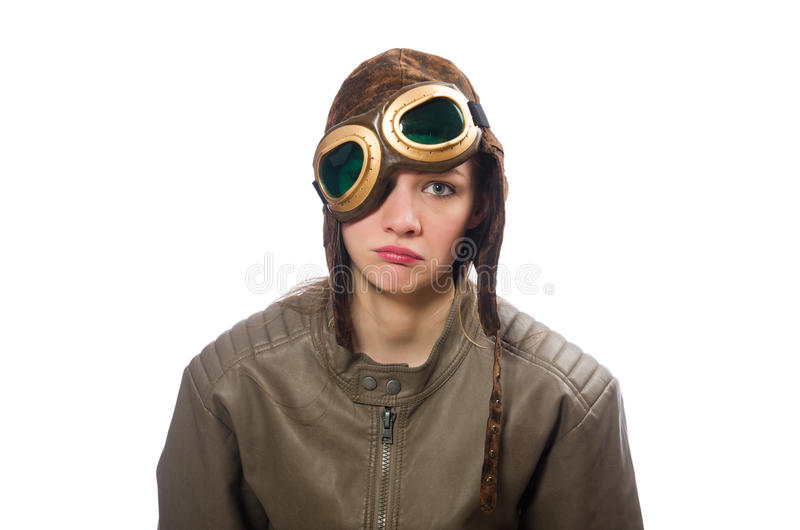 Pilote drôle de femme d'isolement sur le blanc images stock