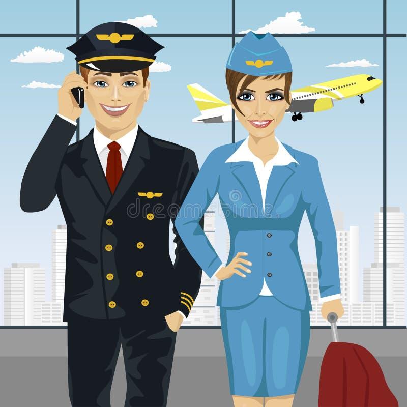 Pilote et hôtesse de l'air dans l'uniforme à l'aéroport illustration de vecteur