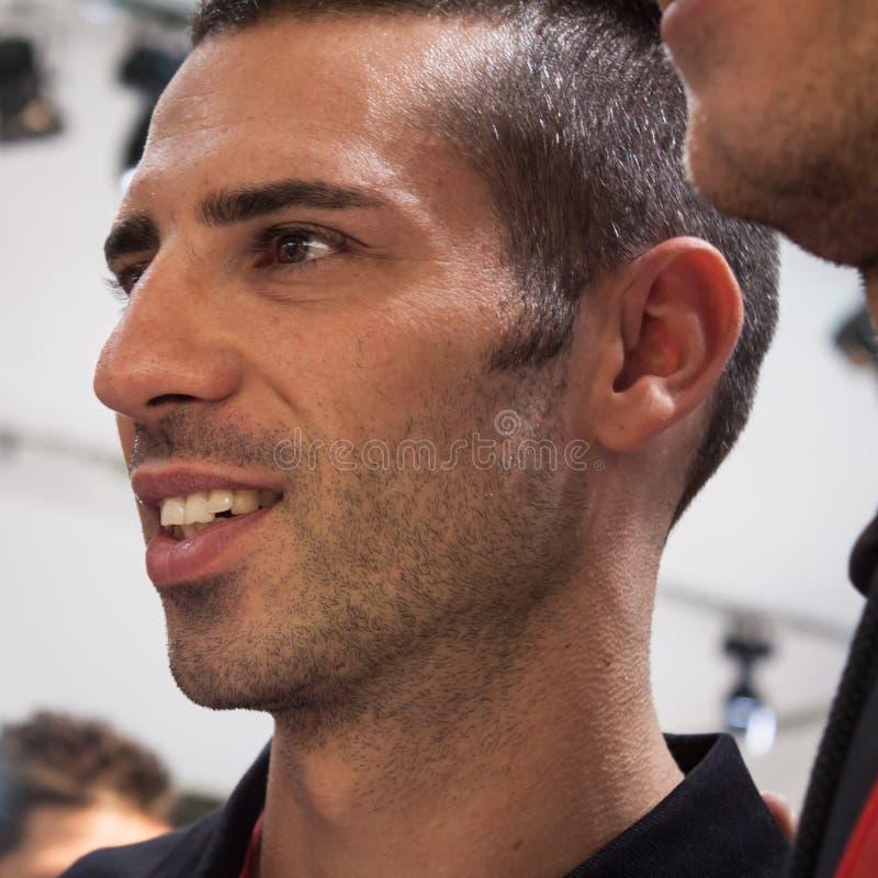 Pilote italien Marco Melandri de superbike à EICMA 2013 à Milan, Italie image libre de droits