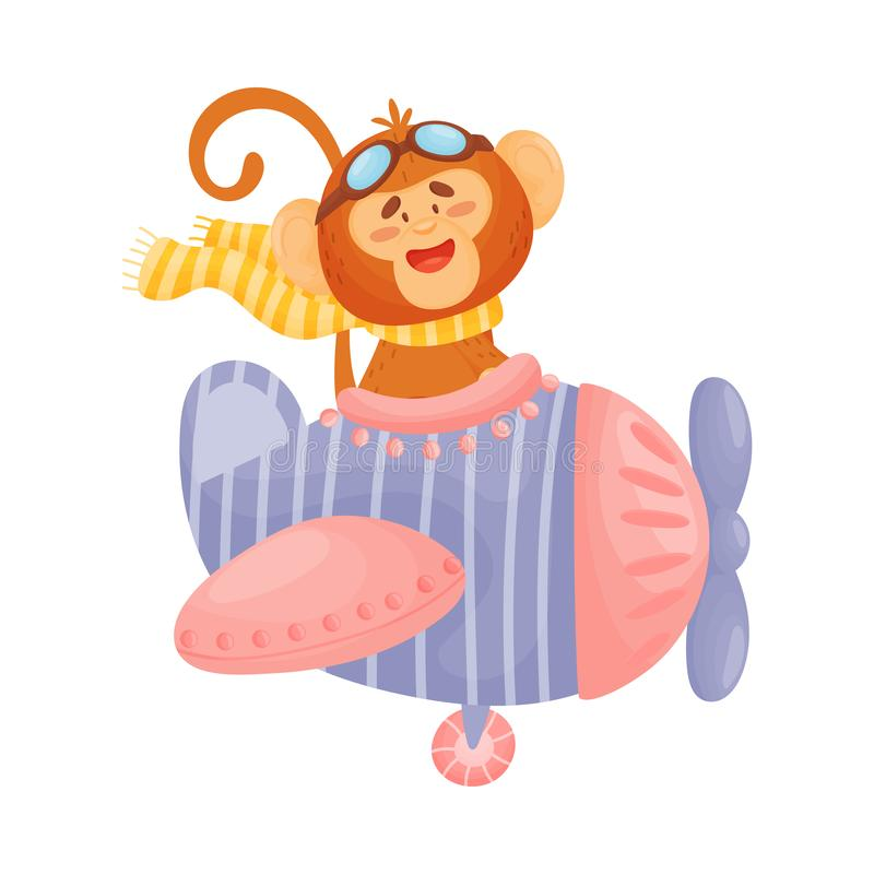 Pilote mignon de singe Illustration de vecteur sur le fond blanc illustration de vecteur