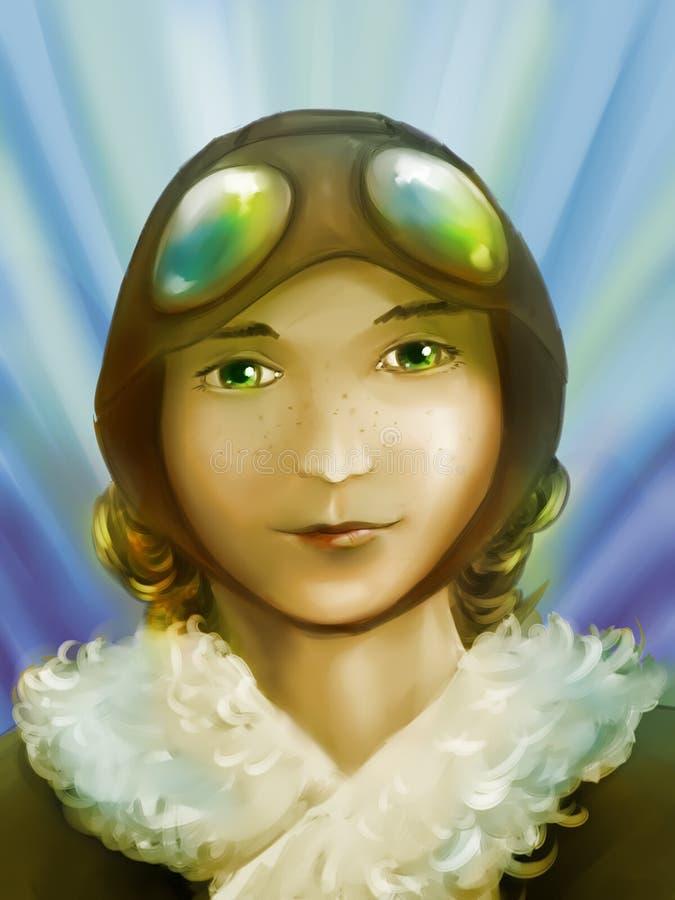 Piloto bonito da menina ilustração stock