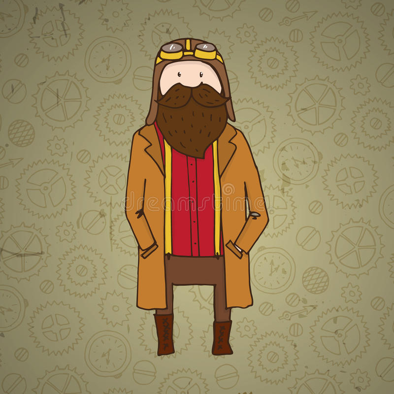 Piloto bonito do steampunk com barba ilustração do vetor