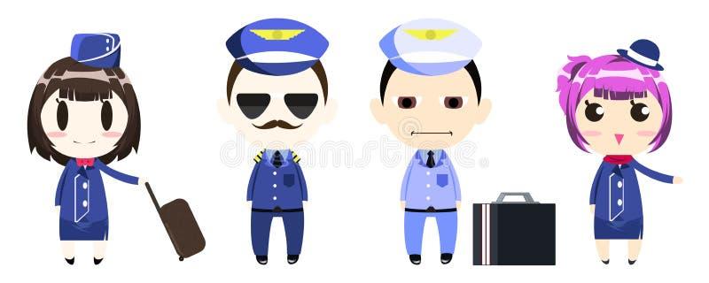 Piloto, capitán, equipo y azafata en personaje de dibujos animados uniforme ilustración del vector