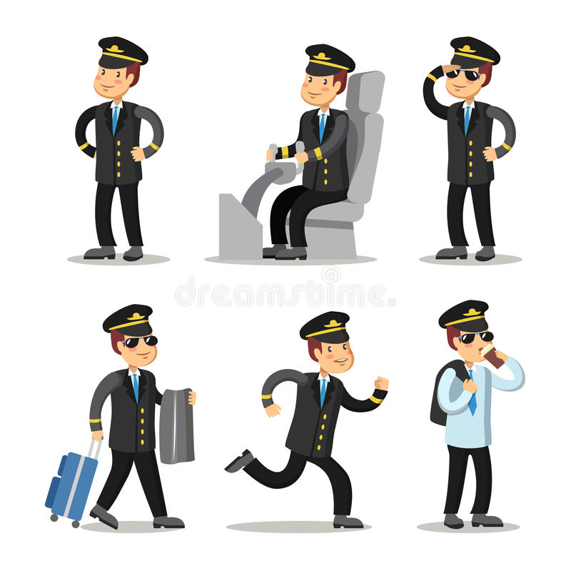 Piloto Cartoon Character Set do avião Capitão dos aviões no uniforme ilustração royalty free