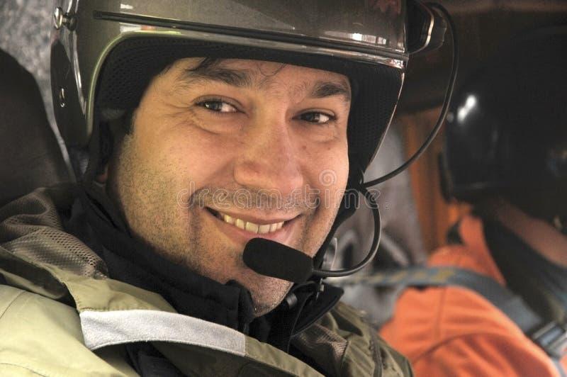 Piloto con el casco foto de archivo libre de regalías
