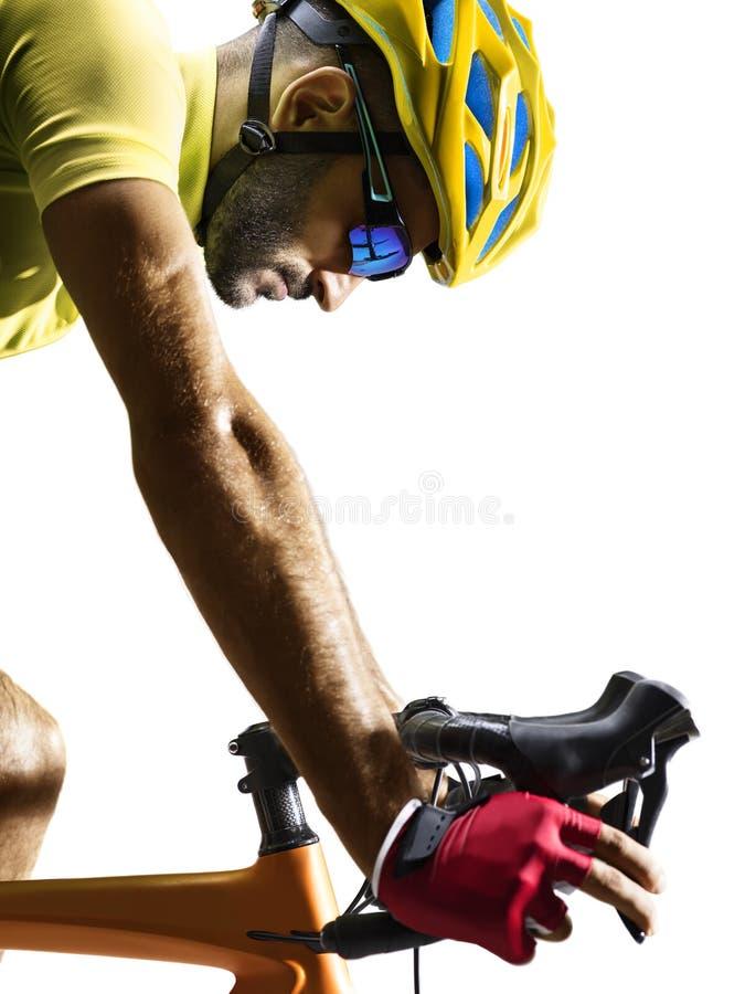 Piloto da bicicleta da estrada de Professinal isolado no branco foto de stock royalty free