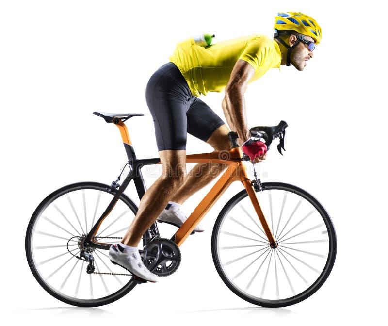 Piloto da bicicleta da estrada de Professinal isolado no movimento no branco fotografia de stock royalty free