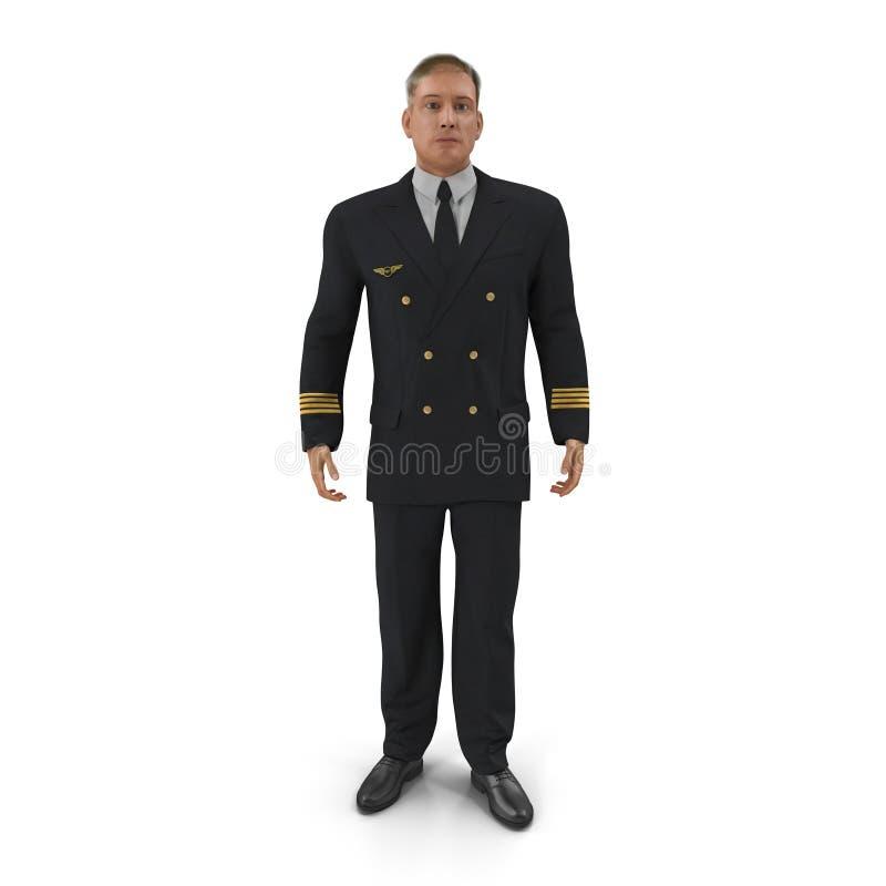 Piloto da linha aérea no branco ilustração 3D ilustração royalty free