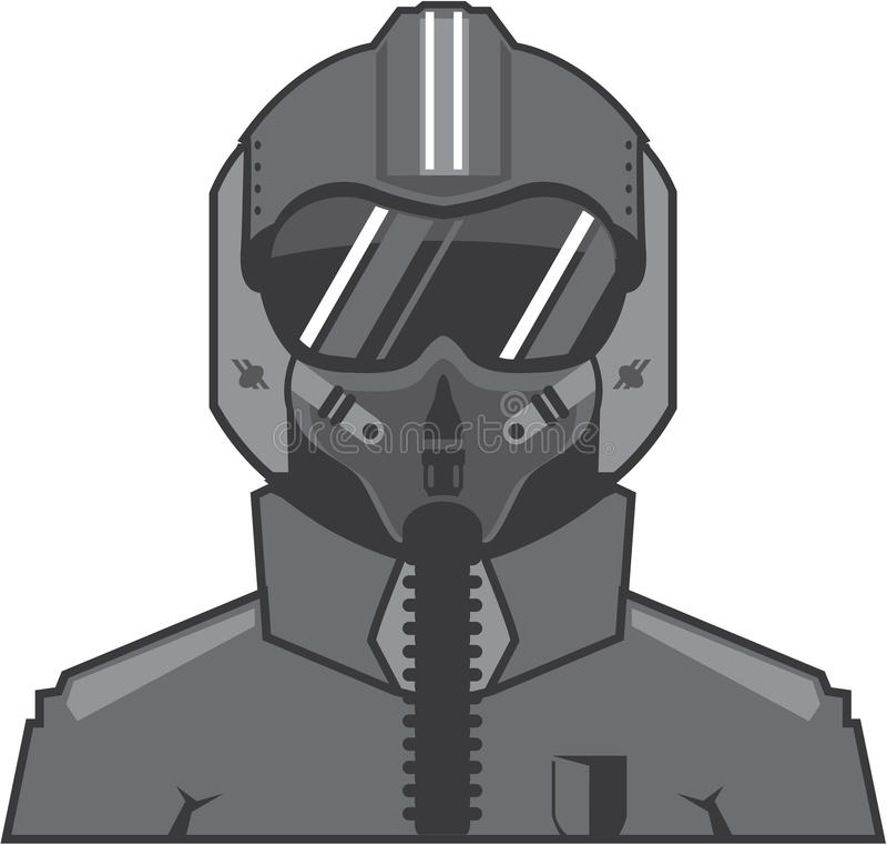 Piloto de avión de combate stock de ilustración