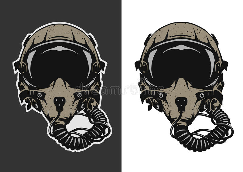 Piloto de caça Helmet ilustração do vetor