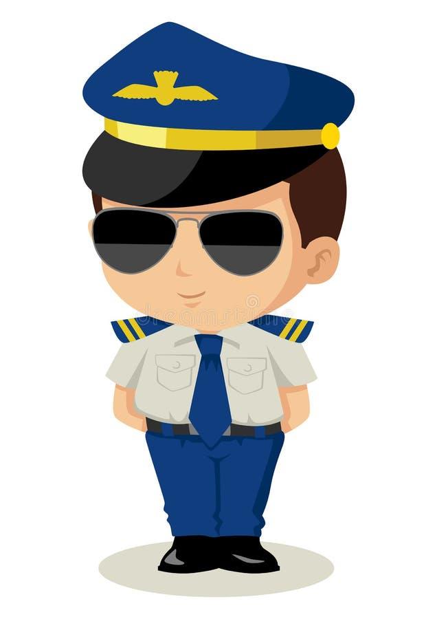 Piloto de Chibi ilustração stock