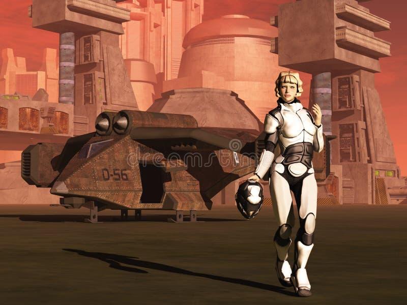 Piloto de espaço fêmea futurista ilustração royalty free
