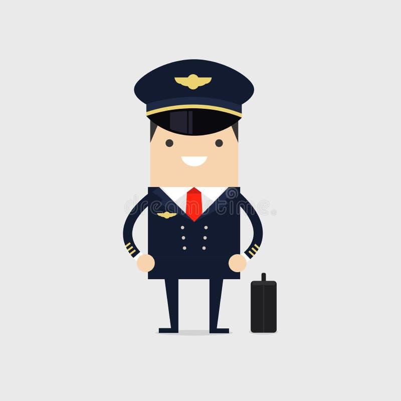 Piloto de la profesión de aviones Hombre en la situación uniforme con equipaje Personales de los aviones libre illustration