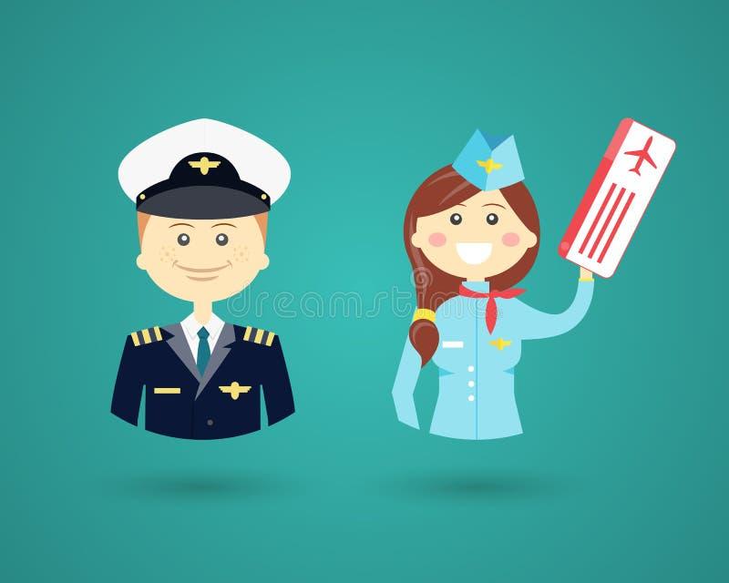 Piloto de las profesiones y asistente de vuelo ilustración del vector