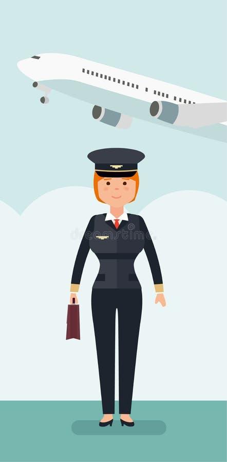 Piloto de sexo femenino de la aviación civil en el fondo del avión y del aeropuerto ilustración del vector