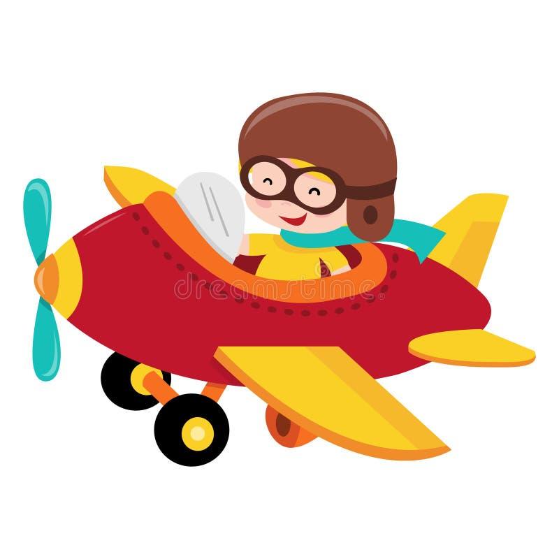 Piloto de voo feliz Kid ilustração royalty free