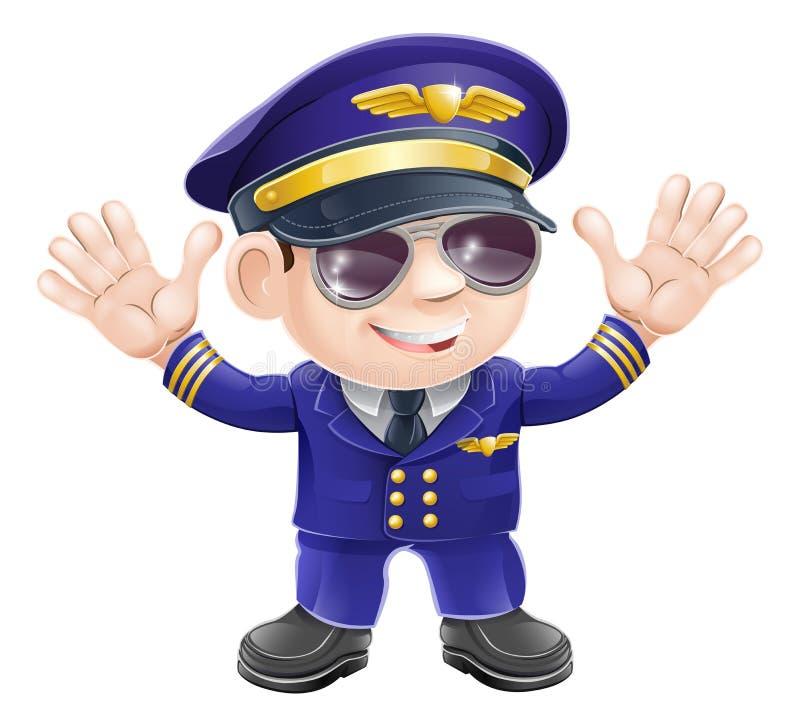 Piloto del aeroplano de la historieta stock de ilustración