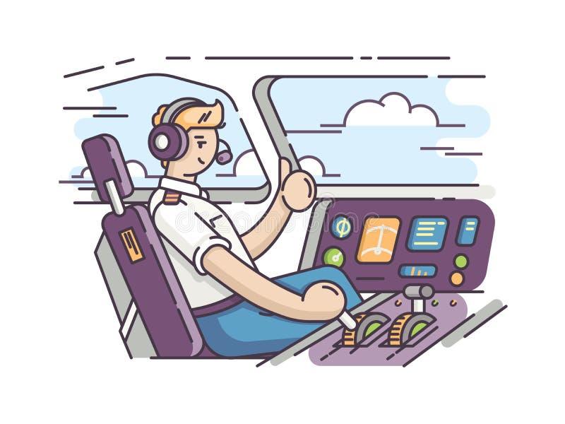 Piloto del aeroplano en carlinga ilustración del vector