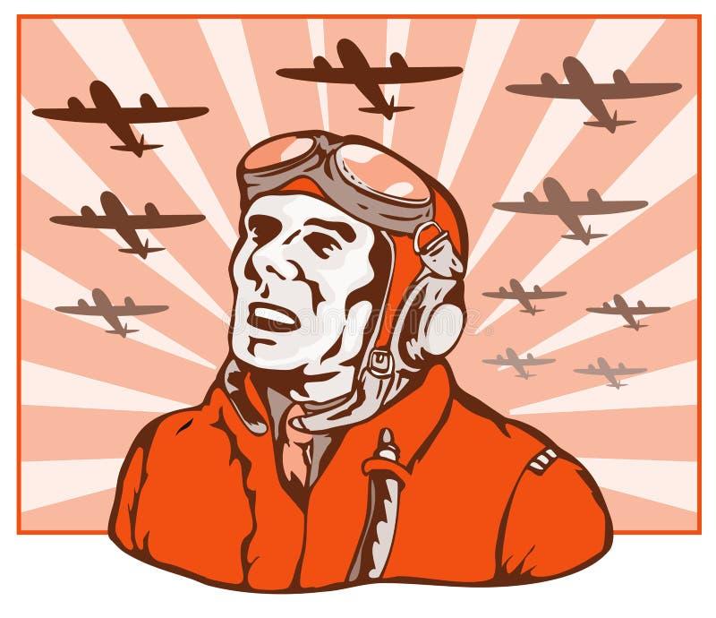 Piloto del as de la Segunda Guerra Mundial stock de ilustración