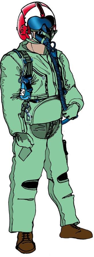 Piloto del combate stock de ilustración