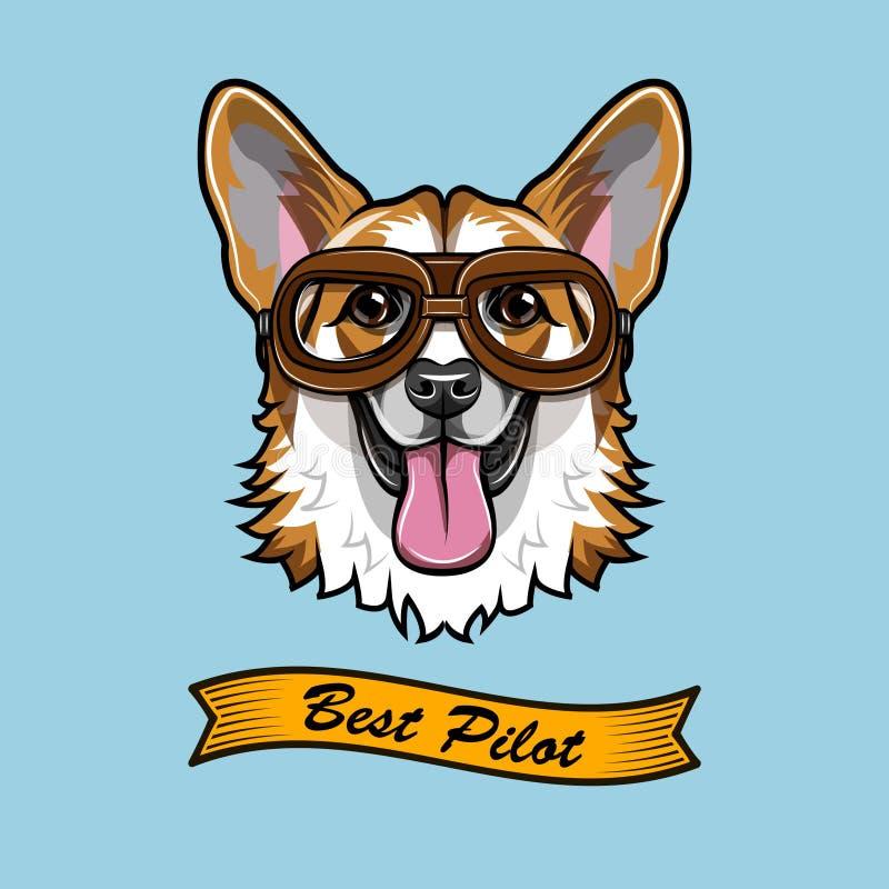 Piloto del Corgi Aviador del perro Retrato del Corgi Galés El mejor texto experimental Vector stock de ilustración