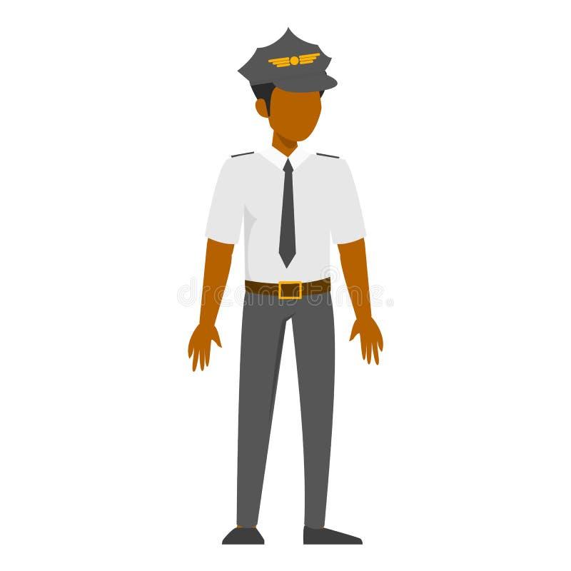Piloto del hombre en uniforme Capitán del aeroplano, profesión del vuelo stock de ilustración