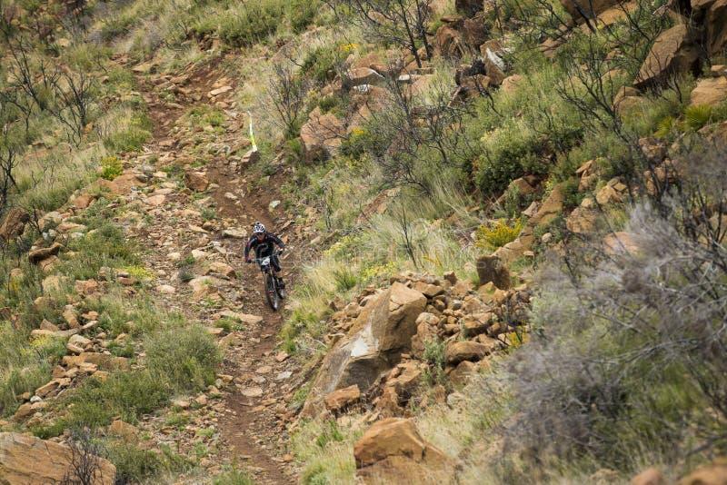 Piloto desconhecido na competição do Mountain bike imagem de stock royalty free