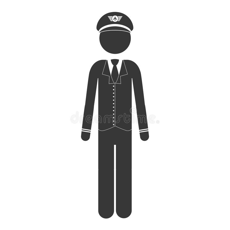 Piloto dianteiro do capitão da silhueta na escala cinzenta ilustração royalty free