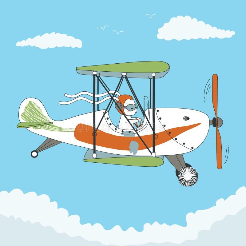 Piloto do coelho o avião ilustração stock