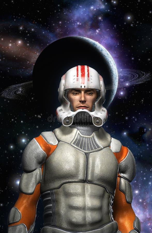 Piloto do comandante do espaço do astronauta ilustração do vetor
