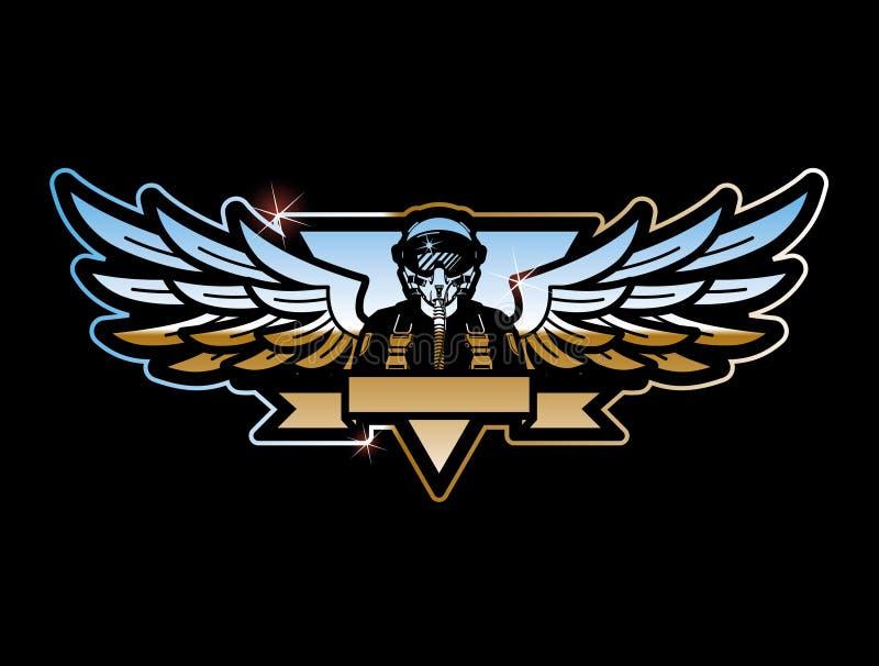 Piloto e asas ilustração royalty free