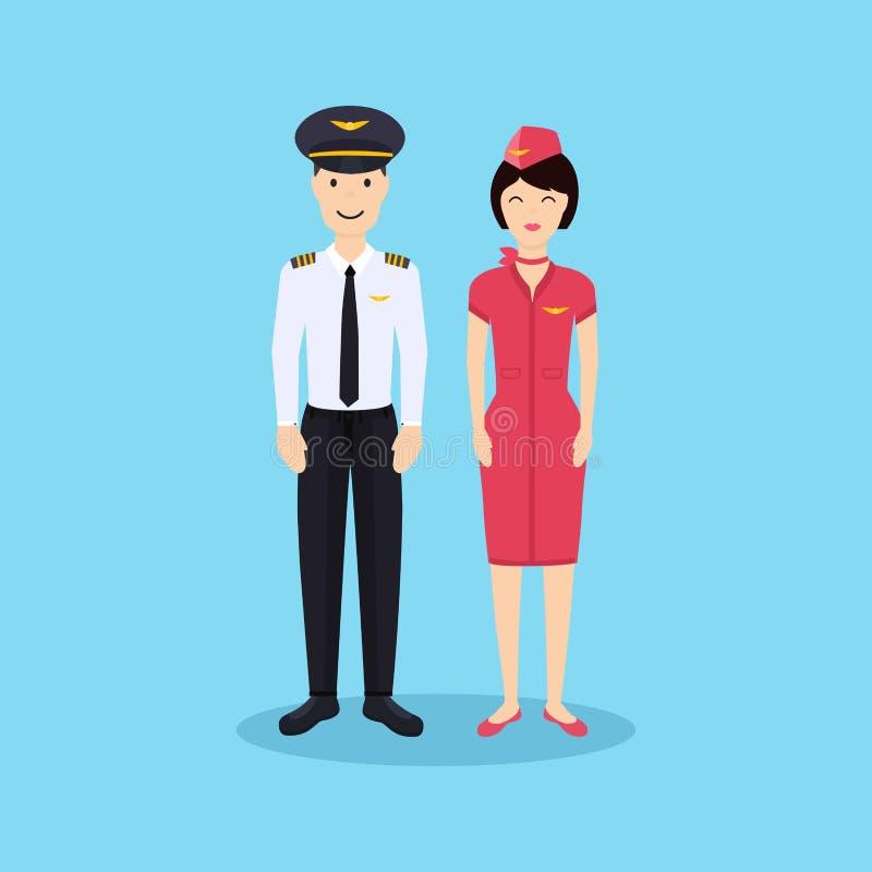 Piloto e comissária de bordo no uniforme no projeto liso ilustração stock