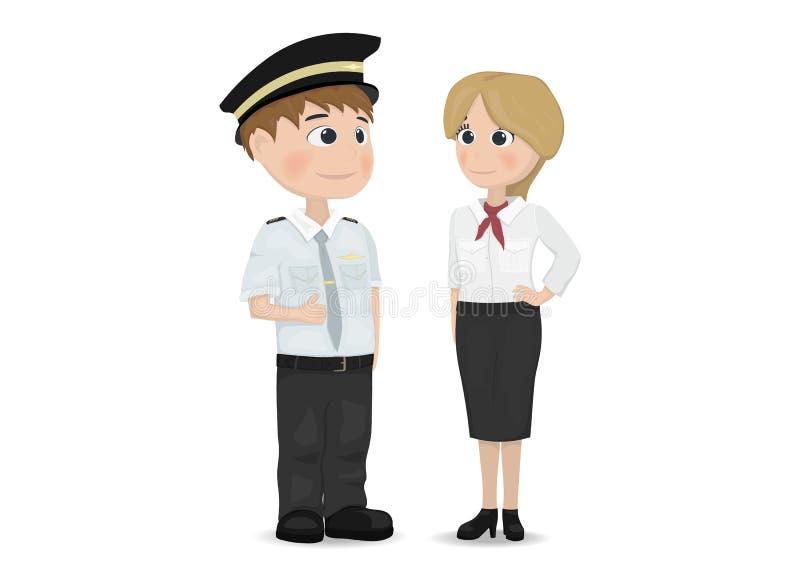 Piloto e comissária de bordo Vetora Personagens de banda desenhada isolados ilustração royalty free