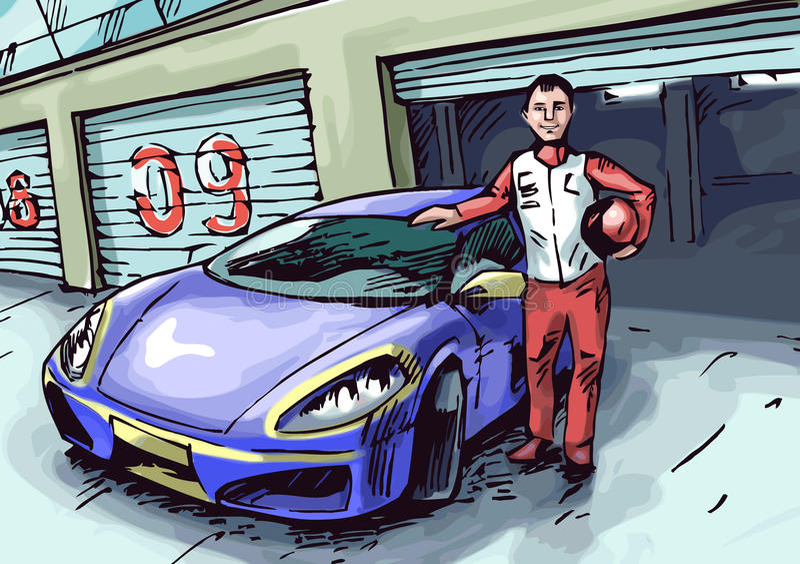 Piloto e seu carro ilustração do vetor