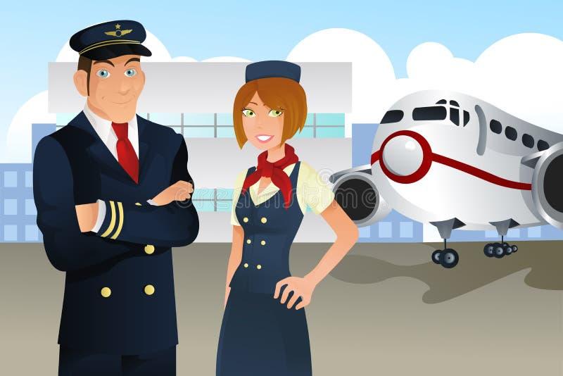 Piloto e stewardess ilustração royalty free