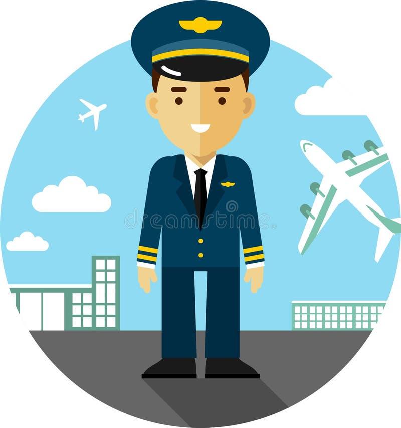 Piloto en fondo del aeropuerto ilustración del vector