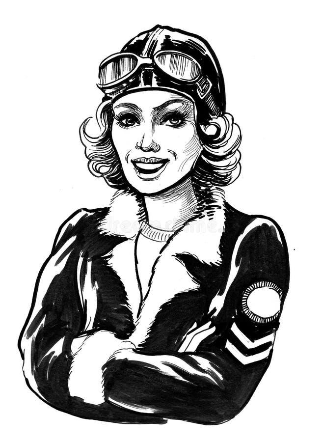Piloto fêmea ilustração stock
