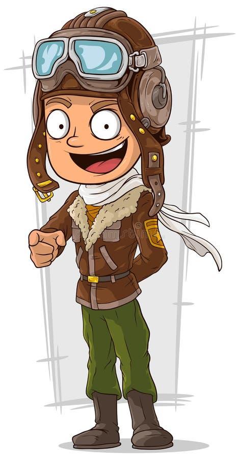 Piloto feliz dos desenhos animados no capacete de couro ilustração royalty free