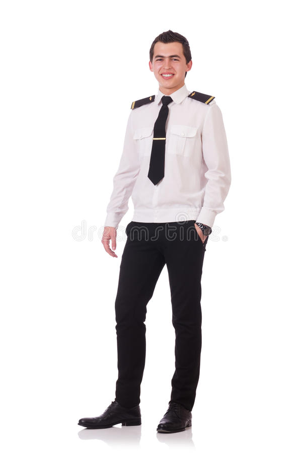 Piloto joven aislado imagenes de archivo