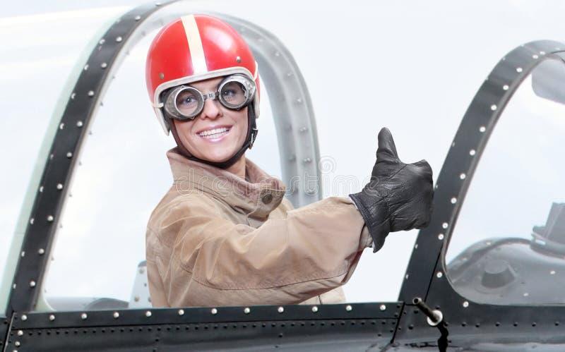 Piloto na cabina do piloto. fotos de stock