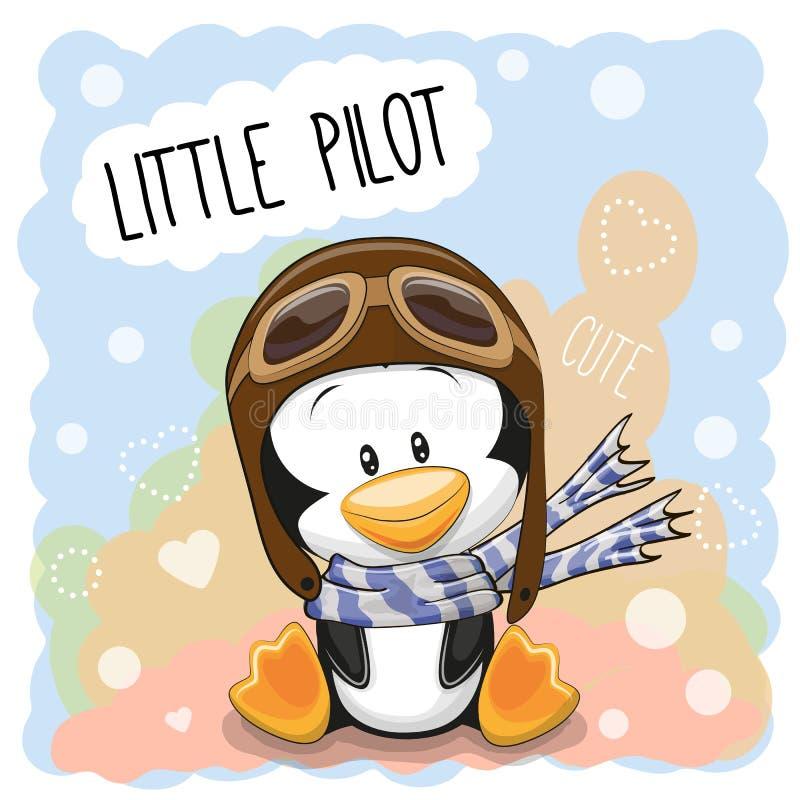 Piloto pequeno do pinguim ilustração royalty free