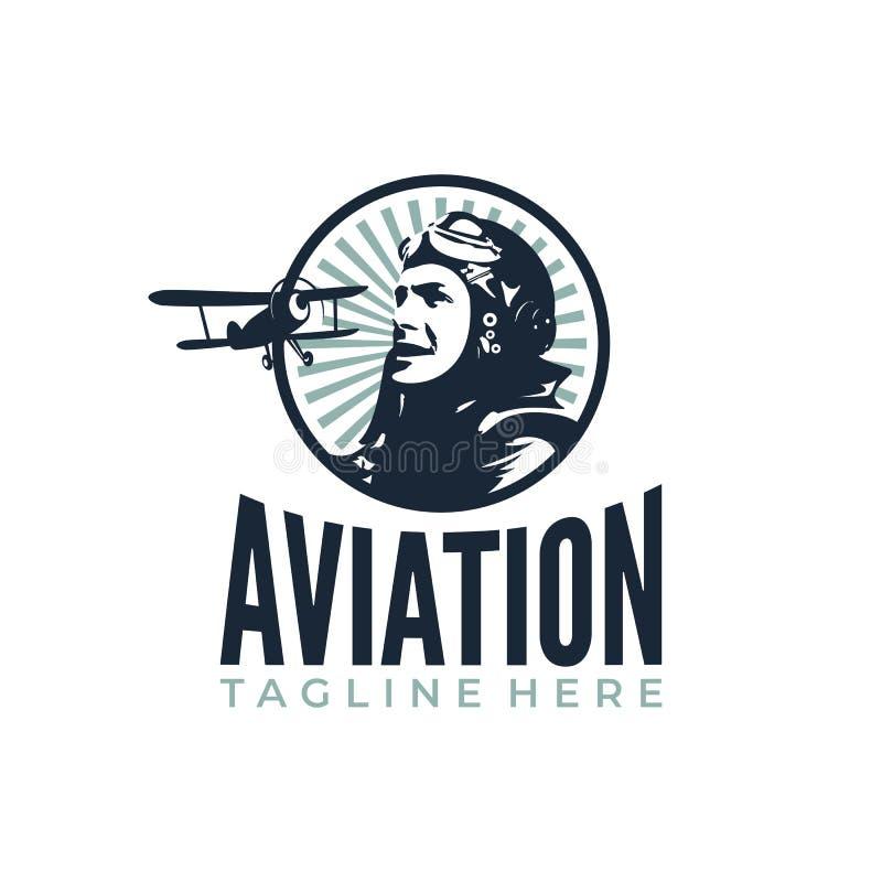 Piloto Plane Retro ilustração do vetor
