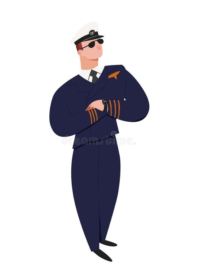 Piloto profesional Hombre en actitud de la situación, en casquillo y uniforme el piloto de aviones Ejemplo del vector de la gente ilustración del vector