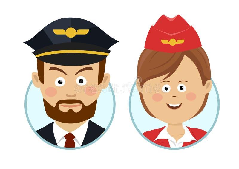 Piloto serio joven y avatares hermosos de la azafata libre illustration