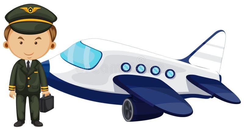 Piloto y aeroplano en el fondo blanco ilustración del vector