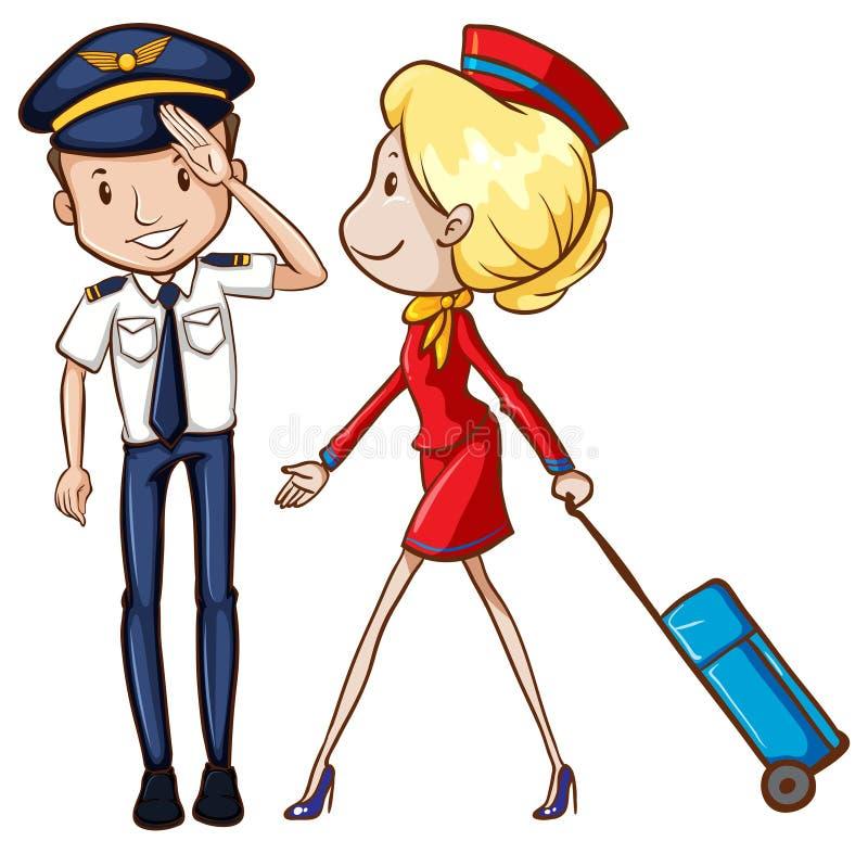 Piloto y asistente de vuelo libre illustration